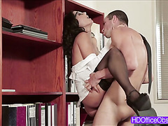 Horny secretary Alexa Tomas gets fucked hard on the top of the table