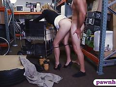 Hot blonde Milf banged at the pawnshop