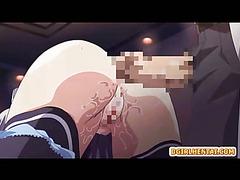 Japanese anime nurse gets vibrating her ass