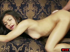 Petite Sydnee Taylor strips her clothes in front of her stepdad and takes his mature white cock
