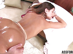 Insanely hot August gets pussy banged hard from behind
