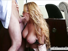 Enormous tits Corrina Blake takes her co workers throbbing cock and gives it a sloppy bj