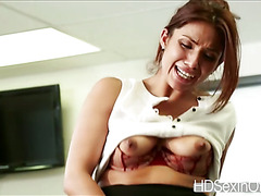 Super horny Isabella is patiently waiting for a hardcore fuck at the office