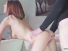Pretty blonde Tracy gets deeply banged with a rock hard cock