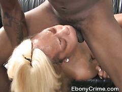 Black Ghetto Slut Getting Her Face Plowed With Ebony Shaft