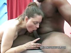 Natasha is swallowing a stiff black dick