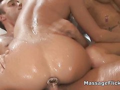 Threesome anal with big tit masseuses