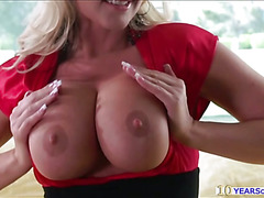 Sultry MILF Alena Croft gives awesome striptease then fucked