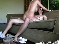 Cheating Blonde Housewife Riding On Livingroom Sofa