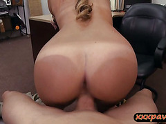 Cutie blonde waitress pounded by pawn keeper at the pawnshop