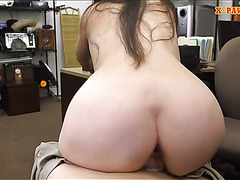 Ex dominatrix sells her stuff and fucked by nympho pawn man