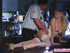 Seductive siren Natalia Starr fuck a hunk security guard in the office