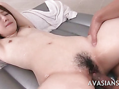 Sweet jap daughter gets her hairy pussy rammed