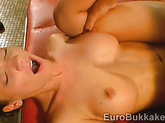 German models open their hot mouths to swallow the piss