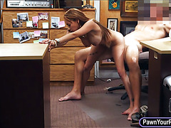 Dirty booby bitch banged by pawn keeper at the pawnshop