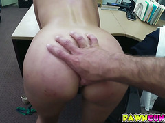 Customers wife getting blowjob and fuck at the back office