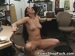 Long Haired Brunette Slut Getting Banged In Pawn Shop Office