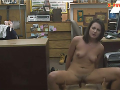 Customers wife desperate for money fucked at the pawnshop