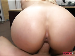 Booby stripper pounded by horny pawn man in the back office