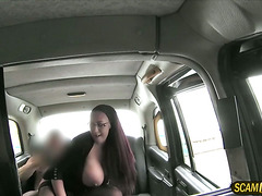 Horny big tits lady gets a free taxi fare and a hardcore sex
