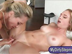 Stepmom Brandi Love horny threesome sex on massage table