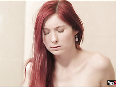 Sultry redhead babe Kattie Gold anal stuffed in the bathroom