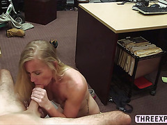Skinny country girl gets vagina destroyed in the pawnshop by huge cock