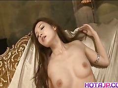 Mei Haruka sexy Asian milf exposes pussy and masturbates in close up