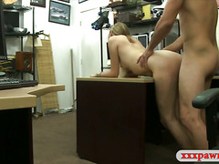 Hot blonde babe sells her stuffs and fucked by pawn man