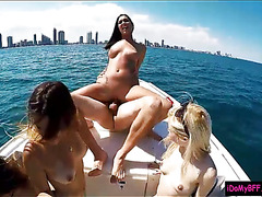 Four sexy besties boat party leads into nasty group sex