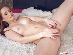 Ginger Girl Fingers Her Tight Pussy
