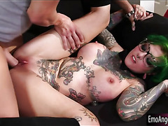 Busty tattooed whore gets pussy rammed by hard man meat