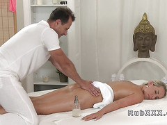 Blonde fucks masseur who gets orgasms