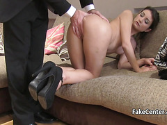Brunette gal anal fucked on casting