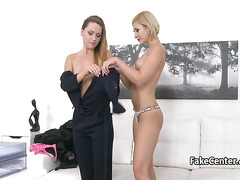 Lesbian casting agent fucked gal