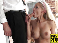 Big titted blonde slut Loulou gobbles on Pascals fat cock