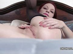 Kajira is masturbating in a selfshot clip
