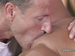 Tanned gal massaged and deep fucked