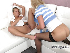Blonde in stockings eats hairy agent