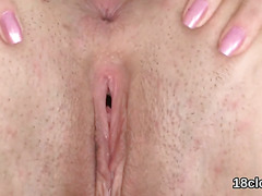 Ideal girl is gaping soft twat in close up and having orgasm