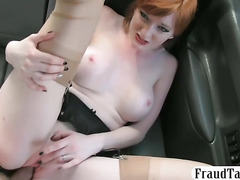 Nasty amateur redhead exchanged her pussy for a fare