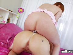 Sexy lesbians fill up their oversized butts with cream and ejaculate it out