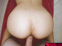 Amina Allure goes on top of the big cock step big bro pounds hard