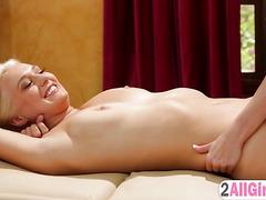 Petite cutey Aaliyah massages her sexy boss Natalia