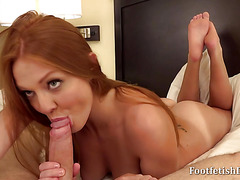 She Sucks Him After A Foot Jacking Off