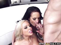 Attractive chicks Alektra and Nina enjoy hard group sex