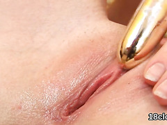 Sweet girl is gaping pink pussy in close range and having orgasm
