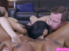 Hot ladies Crystal and Diamond gets dirty with one huge cock