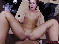 A fabulous sexy blonde babe fuck by a horny pawn guy