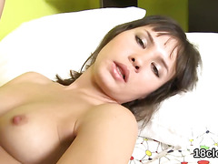 Nice chick is gaping juicy cunt in close-up and getting off